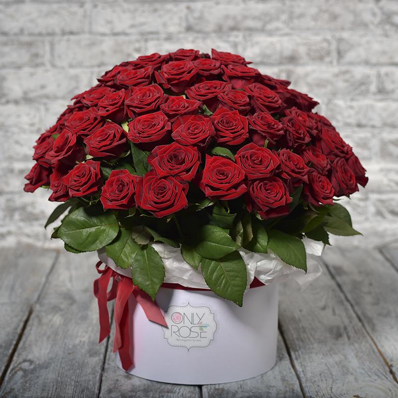 Червоні троянди 59шт. у коробці «Про любов»