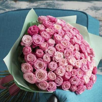 Букет зі 101-ї рожевої піоноподібної троянди «Твій рожевий»