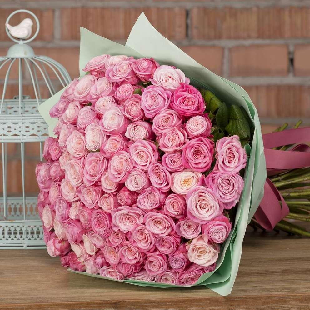 Букет из розовых пионовидных роз «Твой розовый»