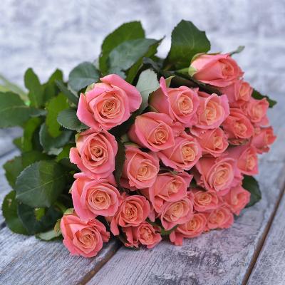 Букет з 25-ти персикових троянд «Комплімент №3»