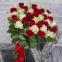 Букет з 39-ти червоних і білих троянд «Б'янко Россо»