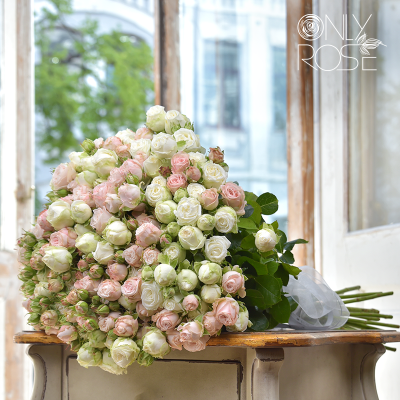 Букет із 35-ти гілок піоноподібних троянд «Мілк Бомб»