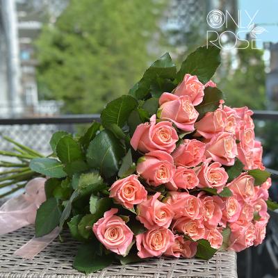 Букет із 35-ти персикових троянд «Літл Пінк»
