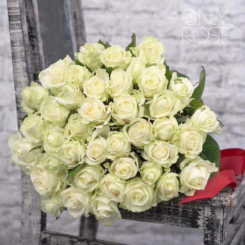 Букет белых роз «Фреш Бриз». Перевязан лентой.