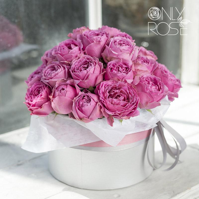 Рожеві піоноподібні троянди «Місті Баблз» в коробці 35шт.